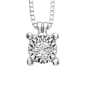 Girocollo Donna Oro Bianco Diamante Rugiada