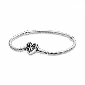 Bracciale Pandora Moments con maglia snake, chiusura a cuore e albero della vita Misura 20