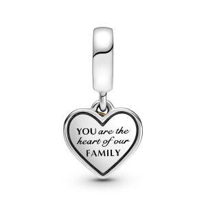 Charm pendente bicolore Albero della famiglia e cuore