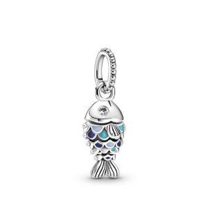 Charm pendente Pesce con squame blu
